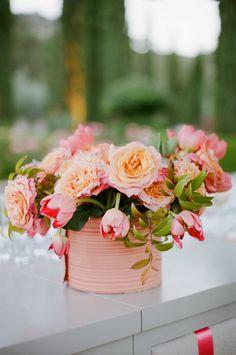 Shannon Leahy Events - Napa Valley - Black Swan Lake - Coral Wedding - Centerpiece - Bar Arrangement