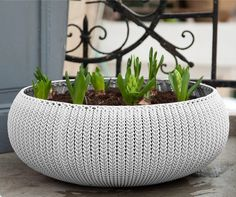 Cozie Knit Plastic Pot Planter