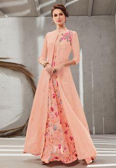 Peach Cotton Silk Readymade Gown With Jacket 199643 Silk Anarkali Suits, Long Anarkali, Anarkali Kurti, Ethnic Fashion, Colorful Fashion, Abaya Fashion, Fashion Dresses, Women's Fashion, Beautiful Suit