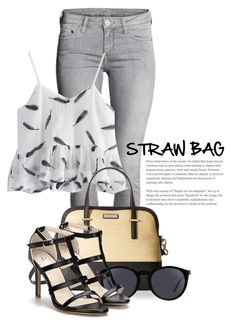 """""""Straw Bags 1991"""" by boxthoughts ❤ liked on Polyvore featuring Chicwish, Kate Spade and Yves Saint Laurent"""