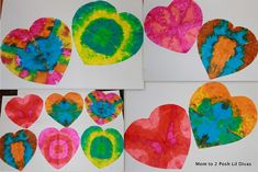 """Valentine from Mary Ann Kohl, one of my favorite kids' art authors. Her note: """"I love doing """"tie-dye"""" with absorbent papers like coffee filters and white tissue. Liquid watercolors are the magic!"""""""