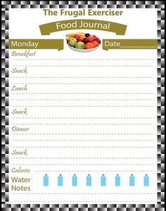 Seven Day Food Journal Printable by TheBodyWorkout. The best way to lose weight is to document what you are eating on a daily basis. Download it today and start a healthier lifestyle tomorrow.
