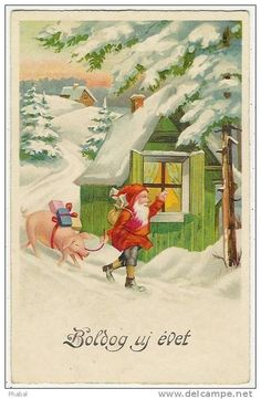Stamps, coins and banknotes, postcards or any other collectable items are on Delcampe! Old Christmas, Old Fashioned Christmas, Christmas Scenes, Vintage Christmas Cards, Christmas Pictures, Christmas Crafts, Vintage Birds, Vintage Postcards, Troll