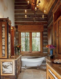 Image On reclaimed log home bath Love the addition of the hutch in the room