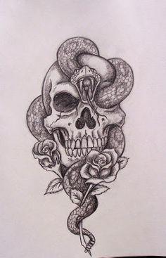 Skull And Snake Tattoo Designs Amazing Skull And Snake Tattoos photo, Skull And Snake Tattoo Designs Amazing Skull And Snake Tattoos image, Skull And Snake Tattoo Designs Amazing Skull And Snake Tattoos gallery Trendy Tattoos, New Tattoos, Body Art Tattoos, Tatoos, Skull Thigh Tattoos, Skull Rose Tattoos, Tattoo Arm, Tattoo Moon, Tattoos With Roses