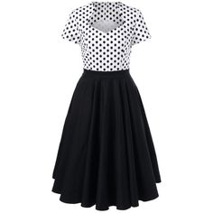 23.26$  Buy now - http://dif0v.justgood.pw/go.php?t=203629501 - Polka Dot Trim Two Tone Swing Dress