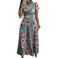 🥇buy Dresses ✅ Women Long Maxi Dress 2019 Summer Floral Print Boho Style Beach Dress Casual Short Sleeve Bandage Party Dress Vestidos Plus Size - aliexpress Vestidos Sexy, Vestidos Plus Size, Long Sleeve Short Dress, Maxi Dress With Sleeves, Short Sleeves, Dress Long, Sleeved Dress, Casual Summer Dresses, Summer Dresses For Women