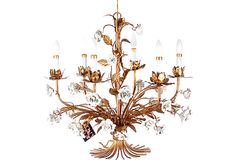 Gilt Metal Chandelier w/ White Flowers on OneKingsLane.com