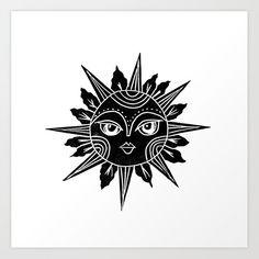 Linocut sun moon face black and white illustration Art Print by monoo - X-Small Sun Painting, Stencil Painting, Black And White Drawing, Black And White Illustration, Moon Museum, Linocut Prints, Art Prints, Lino Art, Sun Illustration