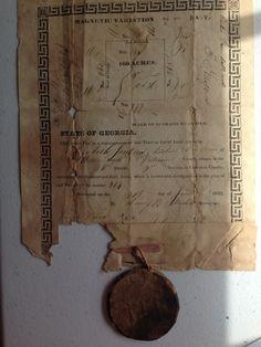 1832 Putnam Co. Georgia Land Lot Certificate For 160 Acres To Elizabeth Perkins