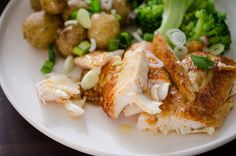 Pan-fried zander with new potatoes and broccoli