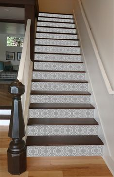An intricate mosaic pattern in shades of grey. Understated and elegant. At last, a way to make your stairways beautiful! RiserArt presents these specially designed art creations perfect for making you (Entry Step Basement Stairs) Mosaic Stairs, Tile Stairs, Hallway Flooring, Basement Stairs, Kitchen Flooring, Painted Staircases, Painted Stairs, Spiral Staircases, Staircase Remodel