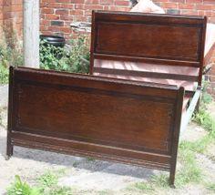 Vintage 1920s oak  standard  double bed