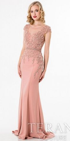 Beaded Cap Sleeve Evening Dress by Terani Couture #edressme