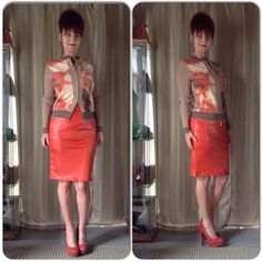 """NEW DEEP ORANGE FAUX LEATHER PENCIL SKIRT New in package orange faux leather wide roll band waist pencil skirt. It has plenty of realistic stretch. Because there is no pattern to distort when stretched, this skirt has about 2"""" stretch allowance. Very simple tube design but it works with anything. The S is modeled in the photo but the same skirt. Sizes S & M. Measurements size Small: waist 26-27"""", hips 32-34"""", length 25"""" with waist up. Size Medium: 28-29"""", 34-36"""", length 25"""". Skirts Pencil"""