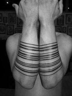 MANUEL WINKLER : Tattoo Artist. Black Forearm Geometric Lines / Stripes
