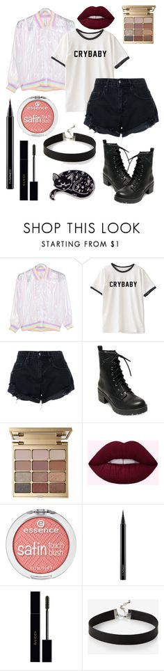 """Crybaby #52"" by myfavoritecoloriscamo ❤ liked on Polyvore featuring Nobody Denim, Madden Girl, Stila, MAC Cosmetics, Gucci and Express"