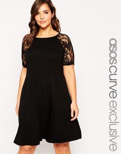 ASOS CURVE Swing Dress With Lace Raglan Short Sleeves; also comes in maroon