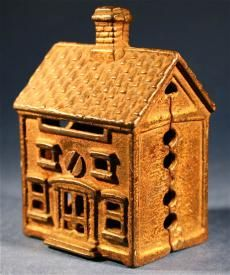 Antique Little House Home Toy Cast Iron Collectible Money Bank