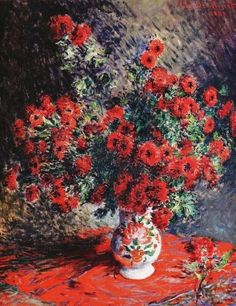 "history-with-some-cake: "" Claude Monet Chrysanthèmes Rouges 1881 "" Claude Monet, Monet Paintings, Landscape Paintings, Artist Monet, Inspiration Art, Impressionist Paintings, Impressionism Art, Manet, Wassily Kandinsky"