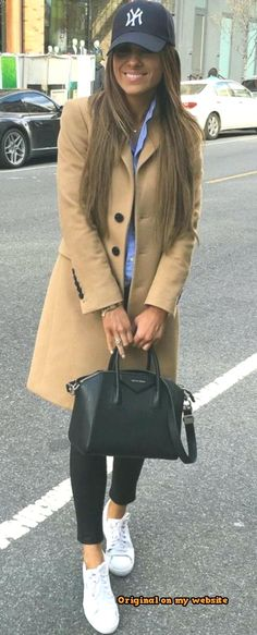 a917482d41 Work Outfits Summer 2019 - fall casual outfit : hat + nude coat + bag +