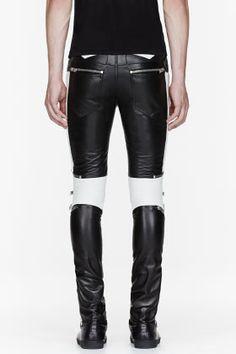 402cdd994806 Saint Laurent Black   White Ribbed Zipped Biker Pants for men   SSENSE Брюки,  Кожаные