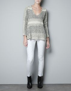 JACQUARD FLAME LACE JUMPER - Knitwear - Woman - ZARA United States