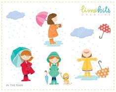In the Rain Girls Clip Art by LimeBitsCreative on Etsy