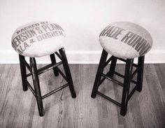 Burlap Upholstered Bar Stools by RusticaINNOVATIONS on Etsy, $148.00