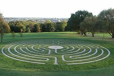 The Canterbury Labyrinth, Kent University, England. Cut into the slopes, the labyrinth is situated on a direct line between the Universities' Eliot College building and Canterbury Cathedral symbolizing the link between the University and local community.