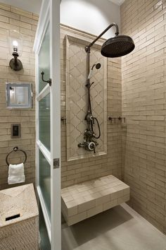 Our Dalby surface-mounted shower in antique nickel finish conjures a sense of style and luxury to this beautiful walk-in shower. Designed by @artalenta.ui Cast Iron Bath, Shower Rose, Luxury Shower, Classic Bathroom, Design Firms, Amazing Bathrooms, Timeless Design, Master Bathroom, The Hamptons