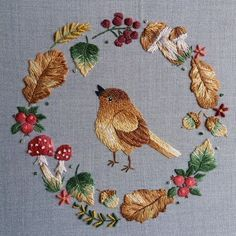 Floral Embroidery Patterns, Bird Embroidery, Creative Embroidery, Hand Embroidery Stitches, Hand Embroidery Designs, Embroidery Techniques, Cross Stitch Embroidery, Fabric Art, Bunt