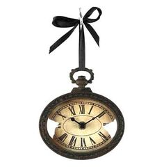 Pocket Watch Style Vintage French Rustic Ribbon Wall Clock