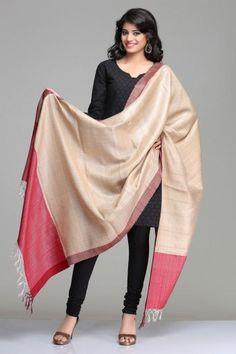 Classic Beige & Maroon Ghicha Tussar Silk Dupatta
