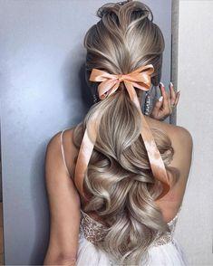 Wedding Ponytail Hairstyles, Bride Hairstyles, Down Hairstyles, Hairstyle Ideas, Bridesmaid Hairstyles, Wavy Ponytail, Straight Brunette Hair, Brown Blonde Hair, Long Brunette