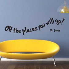 OH THE PLACES YOU WILL GO DR SEUSS WALL ART STICKERS DECAL WORDS QUOTES KIDS DS3