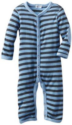 Splendid Littles Baby-Boys Newborn Charcoal Stripe Thermal Playsuit, Sky, 12-18 Months