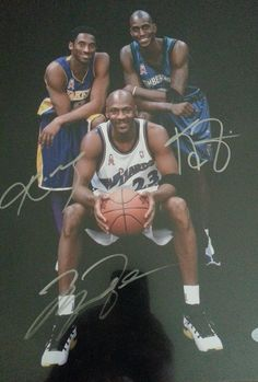 Rare 11x14 Michael Jordan, Kobe Bryant, and Kevin Garnett autographed photo
