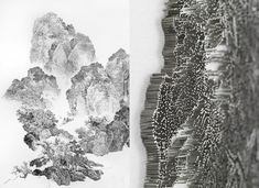 In traditional Chinese landscape painting, ink is applied with soft brushes on paper. Chen Chun-Hao uses a nail gun, however, with tiny nails to an image on the screen create.