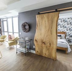 Barn door – wood slab… in the words of last pinner. I just want to say that th… Barn door – wood slab… in the words of last pinner. I just want to say that this is one beautiful wood slab 😉 I'll take it! House Design, Interior, Home, Home Bedroom, Bedroom Design, New Homes, House Interior, Home Interior Design, Rustic House