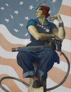 """Questa è """"Rosie the Riveter"""" di Norman Rockwell, la versione che comparve sulla copertina del Saturday Evening Post per celebrare le donne che lavoravano nell'industria bellica statunitense durante la seconda guerra mondiale. Rosie the Riveter (che simboleggia il ruolo importante e la conseguente emancipazione delle donne americane durante la guerra) comparve anche su un famoso manifesto (altro pin) che poi è diventato un'icona del femminismo americano."""