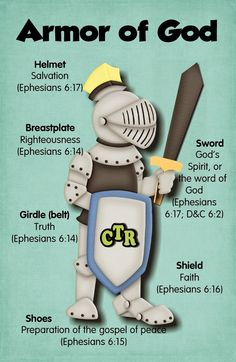 (Nice visual for retreat message) Armor Of God 4 x 6 Printable- Rapp Rachel, this would go great with the Faith Case you're doing in children's church! Bibel Journal, Armor Of God, Bible For Kids, Bible Crafts, Kids Church, Church Ideas, Bible Lessons, Way Of Life, Word Of God