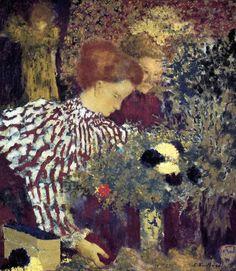Mulher de vestido listrado (1895)  Edouard Vuillard - National Gallery of Art, Washington  Um pintor da escola Pós-impressionista, assim como um muralista e litógrafo, Edouard Vuillard é mais conhecido por seus interiores únicos e requintados da pintura de gênero, executadas em um estilo conhecido como intimismo ( Intimisme ), e sua associação com o grupo de artistas conhecido como Les Nabis , ambos os quais floresceram na década de 1890.