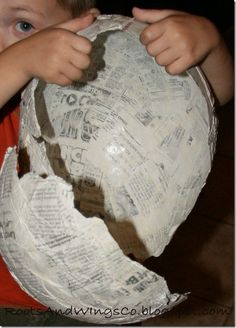 Paper Mache' Dinosaur Egg. Make mini ones with think layer kids can easily break. Fill with candy