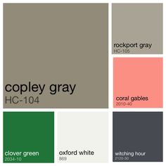 House color palette: grey, navy, white and accents of coral and Kelly green