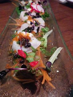 Kingyo - Best Izayaka in Toronto. All the carpaccio's are delicious. If you like uni, order any dish with uni as an ingredient. Best Restaurants In Toronto, Toronto Nightlife, Ceviche, Gta, Night Life, Entertainment, Japanese, Dishes, Ethnic Recipes