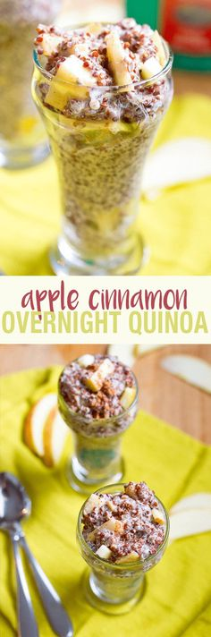 Apple Cinnamon Overnight Quinoa   Apple cinnamon overnight quinoa makes for a simple, healthy, protein-packed breakfast -- gluten-free, vegan, 17 grams of protein and 11 grams of fiber! Quinoa Breakfast, Protein Packed Breakfast, Breakfast Options, Breakfast Recipes, Brunch Recipes, Real Food Recipes, Cooking Recipes, Yummy Food, Tasty