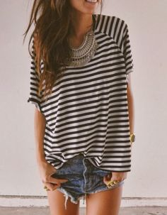 larger striped tee with jean cut off shorts are perfect for laid back summer days.