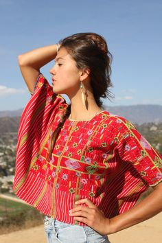 Exquisite Hand Embroidered Hand Woven Huipil Circa 1960s by Vdingy, $120.00