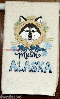 DOG MUSHING - STUNNING DESIGN - ONE EMBROIDERED HAND TOWEL by Susan